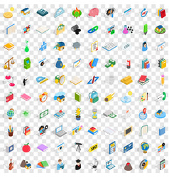 100 chemistry icons set isometric 3d style vector