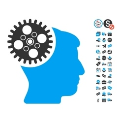 Head gearwheel icon with free bonus vector