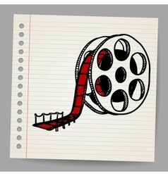 Cinema film roll and red carpet vector