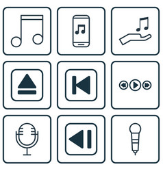 Set of 9 music icons includes mike note donate vector