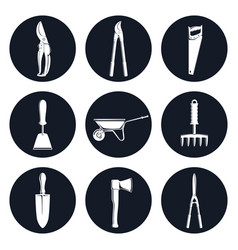 Set of round icons garden tools vector
