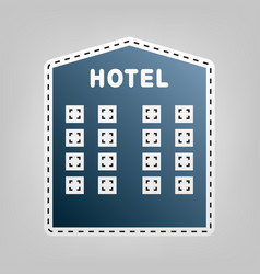 hotel sign  blue icon with outline for vector image