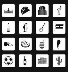 argentina travel items icons set squares vector image