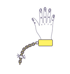 Cute hand with metalic chain vector