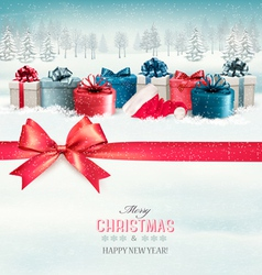 Holiday christmas background with colorful gift vector