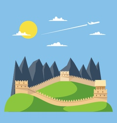 Flat design great wall of china vector
