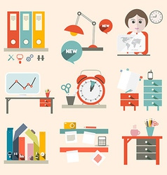 Flat design ui office supply flat design vector