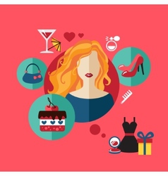 Woman shopping flat icon set infographic vector image