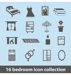 Bedroom icons vector