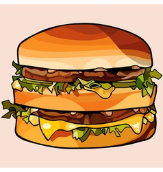 Cartoon double big hamburger vector