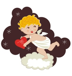 Funny cupid stealing hearts vector