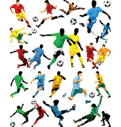 Soccer players sihouettes vector