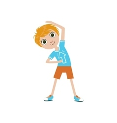 Boy Doing Stretching Exercise vector image