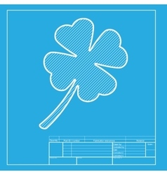 Leaf clover sign white section of icon on vector