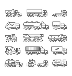 Set line icons of trucks vector