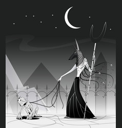 anubis and mummy vector image