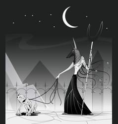 Anubis and mummy vector