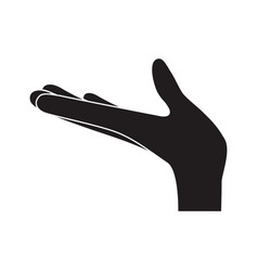 arm extended hand gesture on monochrome silhouette vector image