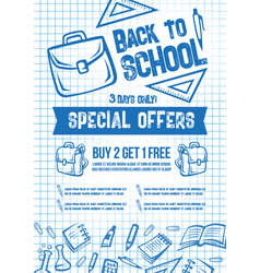 back to school sale offer poster vector image vector image