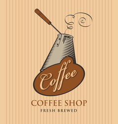 banner for coffee shop with coffee cezve vector image vector image