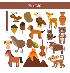 Brown learn the color education set of primary vector