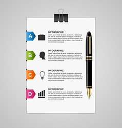 Business infographic sheet of paper with pen and vector image
