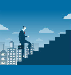 businessman climbing up staircase concept on city vector image vector image