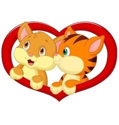 Cat cartoon in love vector