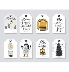 Christmas tags set hand drawn style vector image vector image