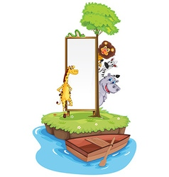 Frame template with wild animals on island vector