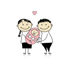 Happy parents with newborn baby vector image