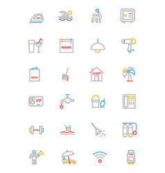 Hotel and restaurant colored line icons 2 vector