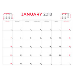january 2018 calendar planner design template vector image