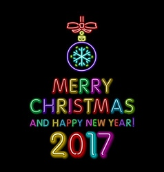Merry christmas and happy new year 2017 neon light vector