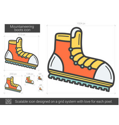 Mountaineering boots line icon vector