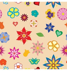 Multicolored flower seamless pattern vector image