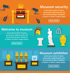 Museum exhibit banner horizontal set flat style vector