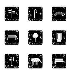 Park things icons set grunge style vector image vector image