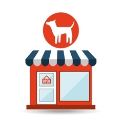 pet shop with dog silhouette vector image vector image