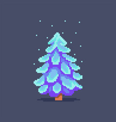 pixel art decorated christmas tree vector image vector image