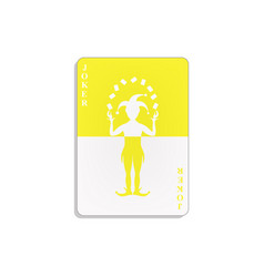 playing card with joker in yellow and white design vector image vector image