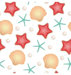 Seashells seamless texture Marine background Cute vector image