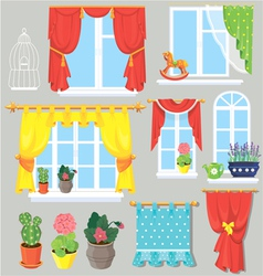 Set of windows curtains and flowers in pots vector image vector image