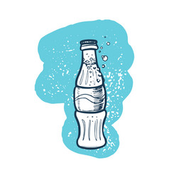Soda cola bottle hand drawn icon vector