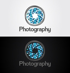 Symbol of camera shutter template logo design vector image