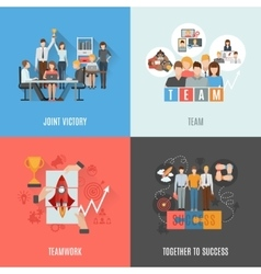 Teamwork 4 flat icons square composition vector image vector image