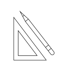 Triangular ruler and pencil icon outline style vector image