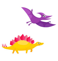 two cute and funny baby dinosaur characters - vector image vector image