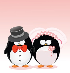 Wedding penguins vector