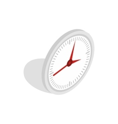 White office clock icon isometric 3d style vector